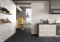 Rivestimento bagno o cucina in pasta bianca matt medio formato, bianco, inserto marmette - Collezione Manhattan