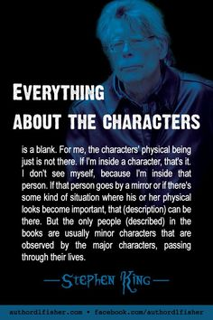 Bestselling author Stephen King has too many awards to list. He's been creating great characters for over 50 years. Book Writing Tips, Writing Words, Fiction Writing, Writer Tips, Writing Prompts, Famous Author Quotes, Writer Quotes, Film Quotes, Quotes Quotes