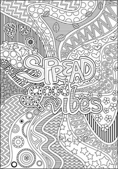 4 Printable Positive Vibes Coloring Pages Spread Good Vibes Quote Coloring Pages, Free Adult Coloring Pages, Mandala Coloring Pages, Free Printable Coloring Pages, Colouring Pages, Coloring Books, Coloring Sheets, Coloring Stuff, Alphabet Coloring