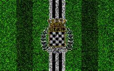 Download wallpapers Boavista FC, 4k, logo, football lawn, Portuguese football club, black and white lines, Primeira Liga, Porto, Portugal, football