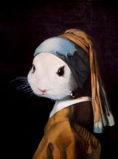 """This was a watercolor assignment Where we had to find a famous painting, in this case A painting by Vermeer, known as """"Girl with A Pearl Earring"""", and S. Bunny with a Pearl Earring Art And Illustration, Illustrations, Bunny Art, Cute Bunny, Regard Animal, Lapin Art, Rabbit Art, Cool Art, Art Drawings"""
