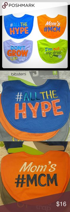 4 catchphrase sayings bibs Take your social media pictures to a whole new level with these Trendy saying bibs... Perfect for taking pictures for Facebook and Instagram...a musthave for you little trendsetter prince..and perfect for mom with the easy wipe off..Velcro closure & 3 layers of absorbent..it seriously doesn't get cuter than this :)  ●•BUNDLE AND SAVE•●  #stylish #trendy #mcm #GOALS #babies #babyboy #Instagram #Twitter #Pinterest #Facebook #trendsetter #gifts #babyshower #micdrop…