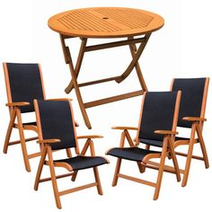 Wood And Fabric Folding Chairs With Arms That Also Recline Round Table