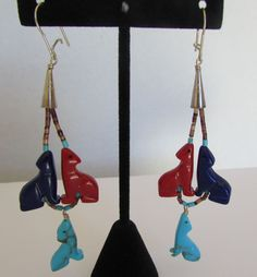 You are bidding on a pair of Native American Zuni Turquoise Coral Lapis Fetish Earrings Signed Rose Gasper. Something different from veteran Zuni jeweler carver Rose Gasper, traditional heishi/fetish earrings.