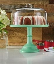 The Pioneer Women® Glass-Covered Jadeite Cake Stand from Walmart USA $19.76