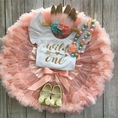 Wild One Girl First Birthday Outfit in Peach, Mint & Gold with Pettiskirt and feather headband - Cake Smash - Birthday Photos This listing if for a Wild One Girls First Birthday Outfit in Peach, Mint & Gold with a choice of Pettiskirt, First Birthday Theme Girl, Wild One Birthday Party, 1st Birthday Photos, First Birthday Outfits, First Birthday Cakes, First Birthday Parties, Birthday Ideas, Birthday Gifts, Birthday Fashion