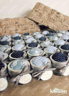 www.kamalion.com.mx - Recuerdos / Favors / Detalles Personalizados / Vintage / it's a boy / baby shower / azul / blue / Kit de costura / Mason jar / Sewing kit / Costureros / Hilo / Aguja / Alfileres / Botones.