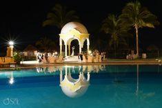 Poolside wedding reception under the gazebo at Secrets Capri in the Riviera Maya. Mexico wedding photographers Del Sol Photography. @secretsresorts