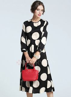 Dresses - $57.09 - Polyester Polka Dot 3/4 Sleeves Knee-Length Casual Dresses (1955096530)