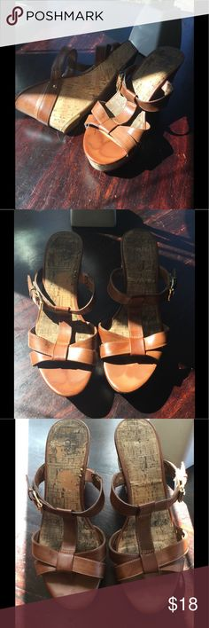 Leather GUESS Wedges 🔥👡😍! Gorgeous leather GUESS wedges! Rich tan color...very hot 🔥. WEAR AND TEAR shown in pic...tried to include all scrapes and foot imprints/markings noticeable. Offers welcome 😊. FYI: I go between 8/8.5 and these fit...cannot find any size markings. Guess Shoes Wedges