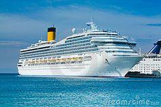Mediterranean cruise liner at the sea port Rodos. Costa Fortuna