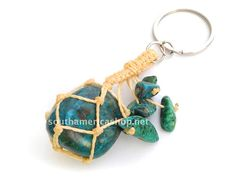 Chrysocolla stone keychain made with the by MiraquelAccessories