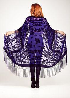 Purple Velvet Maxi Fringe Kimono  Indigo Rose by shevamps on Etsy