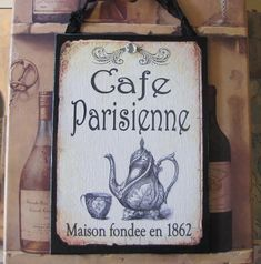 French Cafe Sign Paris Decor Shabby Cottage Chic French