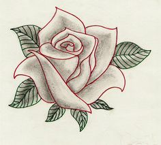 Rose by magnificentbastard on DeviantArt Flower Tattoo Drawings, Pencil Drawings Of Flowers, Art Drawings Sketches Simple, Pencil Art Drawings, Easy Drawings, Sketches Of Flowers, Flower Drawing Tutorials, Fabric Painting, Flower Art