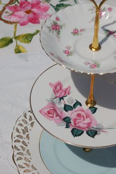 Cake Stand - Vintage Cake Stand - The Pink Roses With A Dash of Sky Blue Cakestand, Three Tier