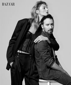 Anja Rubik poses with designer Anthony Vaccarello for the May issue of Harper