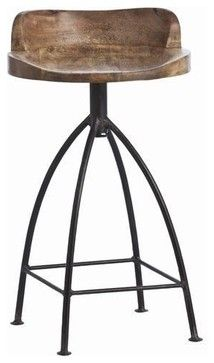 Arteriors Henson Wood Iron Swivel Stool - traditional - bar stools and counter stools - Candelabra