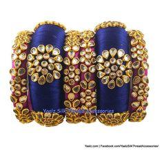 eb80b5027 Yaalz Silk Thread Rich Gold Partywear Bangle Set In Blue & Purplish Pink  Colors Silk Thread