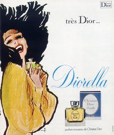 Diorella - Parfum de Christian Dior (Perfumes) 1973 (René Gruau: design, art)