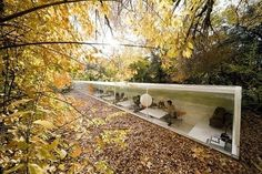 Office of Selgas Cano in Madrid: Sinking the building into the ground is an ancient strategy to improve building insulation; Inside, the recessed floors make it seem as if you're completely immersed in the woods, when you're looking up.
