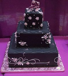 Purple And Black Wedding Cakes Images