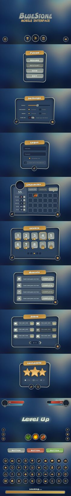 Designed for the needs of mobile game developers, this interface is vector and all the elements can me scaled up, depending on the developers needs. Game Interface, User Interface Design, Ui Ux Design, Game Design, Graphic Design, Game Gui, Game Icon, Mobile Game, Mobile Ui