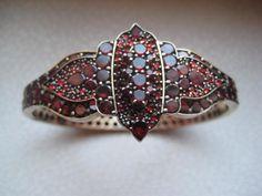 1890's Antique Victorian Bohemian Garnet Bracelet Bangle w Ornament | eBay