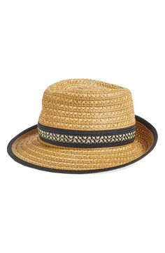 Free shipping and returns on Eric Javits Squishee® Straw Fedora at Nordstrom.com. This comfortable and travel-friendly fedora in a classic silhouette offers stylish sun protection on your adventures near and far. Bold stripes add striking contrast to the lightweight design and the Squishee fabrication resembles and acts like straw.