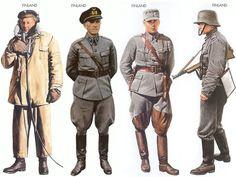 World War II Uniforms -Finland - 1939 Sep., Lake Lagoda, Seaman, Lake Lagoda Flotilla Finland - 1943, Pilot Finland AF Finland - 1943 Jan., around Leningrad, Captain, 2nd Division Finland - 1944 May, Karelia, Lieutenant, Infantry Division