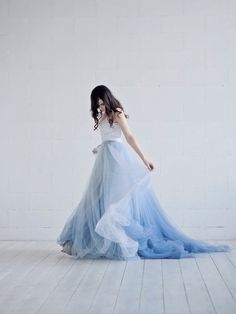 indian wedding dresses Nora - ombre wedding dress / lace and tulle wedding dress / custom ombre dyed bridal gown / dusty blue bridal gown / open back wedding gown Ombre Wedding Dress, Tulle Wedding Skirt, Two Piece Wedding Dress, Bridal Skirts, Blue Wedding Dresses, Bridal Gowns, Ombre Gown, Wedding Blush, Wedding Hijab
