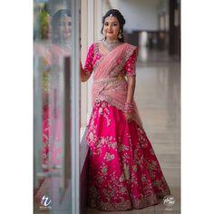 Bride With Pink Bridal Lehenga : Spotted Online Lehenga Saree Design, Half Saree Lehenga, Pattu Saree Blouse Designs, Half Saree Designs, Lehnga Dress, Sari, Lehenga Gown, Bandhani Dress, Kids Lehenga