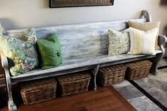 love the idea of an old church pew used as a bench/ for decor! Like whitewash and the basket storage. Repurposed Items, Repurposed Furniture, Reclaimed Furniture, Salvaged Wood, Church Pew Bench, Church Pews, Furniture Makeover, Diy Furniture, Modern Furniture