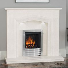 NEW Rosalina Micro Marble Surround - Shown in Manila micro marble with an Elgin & Hall Catalina gas fire in Chrome finish with Exclusive trim