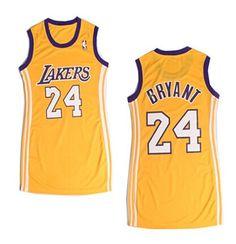 e9e86f9a9e8 NBA Los Angeles Lakers  24 Bryant Yellow Sexy Dress New Material