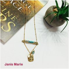 """❥Live Fast Love Hard❥Gold Tone Pendant❥ DESCRIPTION:  Gold tone necklace set displaying a bar with turquoise beads and a hammered plate stamped """"Live fast Love hard"""". Approximately 17"""" length. Janis Marie  Jewelry Necklaces"""