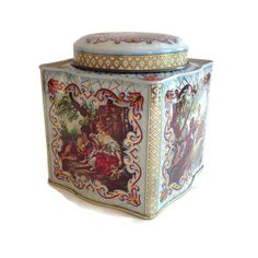 Courting Tin Box English Daher Shabby Chic Storage Container Vintage Metal