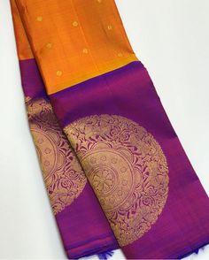 39 ideas bridal saree kanchipuram orange You will find different rumors about the annals of the wedding dress; Kanjivaram Sarees Silk, Indian Silk Sarees, Kanchipuram Saree, Kerala Saree, Pure Silk Sarees, Ethnic Sarees, Pattu Sarees Wedding, Wedding Silk Saree, Purple Saree