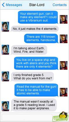 Funny Marvel Memes, Dc Memes, Marvel Jokes, Marvel Dc Comics, Funny Comics, Movie Memes, Avengers Texts, Superhero Texts, Texts From Superheroes