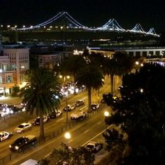 June 2014: San Francisco's Bay Bridge as seen from AT&T Park, home of the Giants. Post-game!