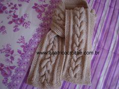 www.anatricocroche.com.br : Cachecol em trico com trança