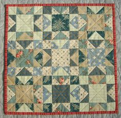 Jo Morton pattern| Miniature quilt  Sawtooth block, no sashing.