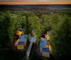 Abendstimmung über den Baumhäusern in Panarbora, © DJH Landesverband Rheinland