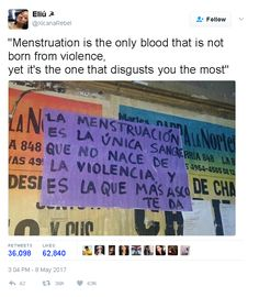 """""""Menstruation is the only blood that is not born from violence, yet it's the one that disgusts you the most"""" Period blood, women's empowerment, feminism, feminist quotes - Frases Tumblr, Intersectional Feminism, We Are The World, It Goes On, Power Girl, Faith In Humanity, Equality, The One, Things To Think About"""