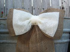 Wedding Decorations, Burlap Pew Bows, Burlap and Lace, Rustic Wedding Decor, Country Wedding, Shabby Chic Wedding