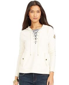 Lauren Jeans Co. Lace-Up Pullover Hoodie