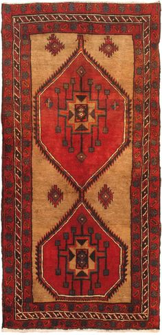 Hand-knotted Sarab Light Camel, Red Wool Rug