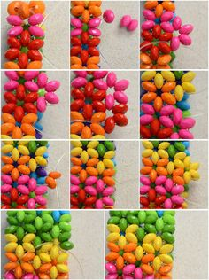 With right angle weave stitch I make a new pattern, that is, rainbow colored flowery beaded bracelet. Free Beading Tutorials, Beading Patterns Free, Jewelry Making Tutorials, Beading Projects, Jewelry Patterns, Bracelet Patterns, Free Pattern, O Beads, Baubles And Beads