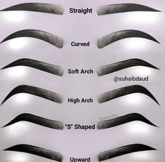 Eyebrows Chart | Guide for your Brows | Different Types Of Eye Brows | Straight Curved Soft Arch High Arch S Shapes Upward Eye Brows #eyebrows #brows #guide #chart Pin: @amerishabeauty