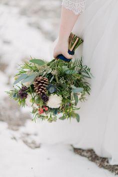 ultimate winter wedding bouquet with pine cones, thistles, seeded eucalyptus & red hypericum berries - Modern Simple Wedding Bouquets, Winter Wedding Flowers, Cozy Wedding, Seeded Eucalyptus, Thistles, Winter Wedding Inspiration, Intimate Weddings, Pine Cones, Wedding Vendors